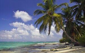 Am Traumstrand von San Andres wehen über Ihnen die Kokospalmen, während das Wasser in türkis-blauen Farben zum Baden einlädt.