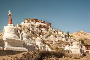 Das Kloster Thiksey befindet sich in Ladakh im Indus-Tal unweit von Leh