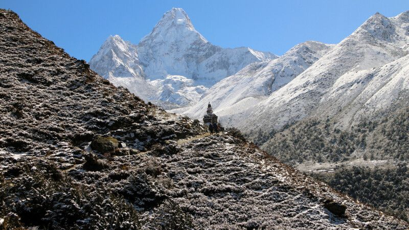 Blick von Pangboche auf Ama Dablam (6812 m) © Diamir