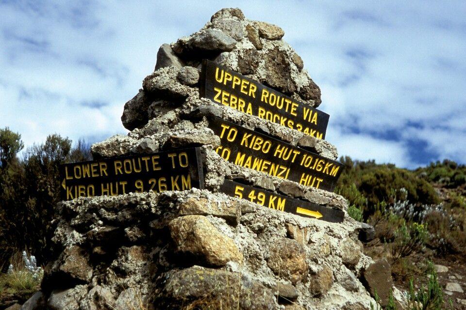 Wegweiser am Kilimanjaro