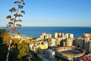 Aussicht vom Gibralfaro auf Malagueta und den Plaza de Toros