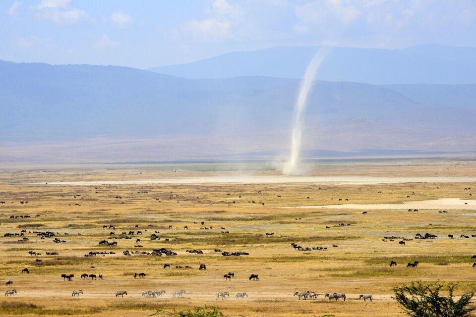 Eine Windhose zieht durch den Ngorongoro-Krater