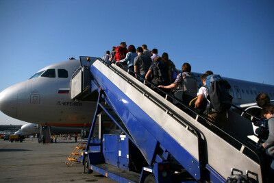 Flug mit Aeroflot in den Kaukasus.