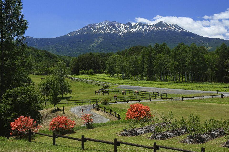 Blick über das  Kiso-Tal zum Mt.Ontake (3067m)