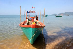 Boot an der Küste Kambodschas