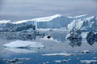 Blick auf die Eisberge der Diskobucht