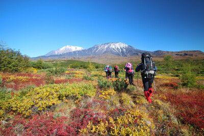 Trekkinggruppe in Tundra