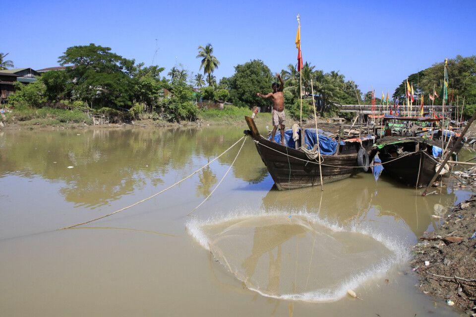 Kyauk Hto: Fischen im Fluss