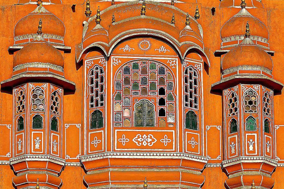 Palast der Winde (Hawa Mahal) in Jaipur – Detail Fassade